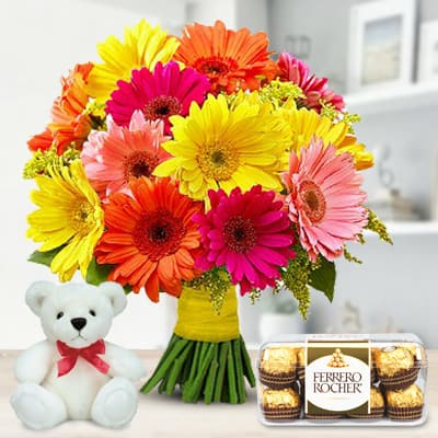 Flowers, teddy and chocolate